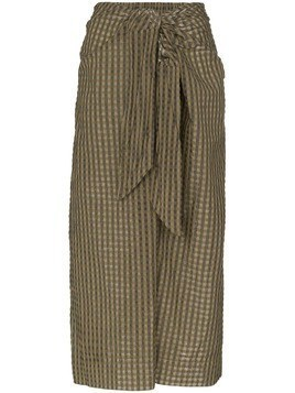 GANNI check tie-waist midi skirt - Green