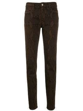 Just Cavalli snake print slim-fit trousers - Brown