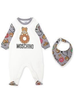 Moschino Kids teddy bear print babygrow - White