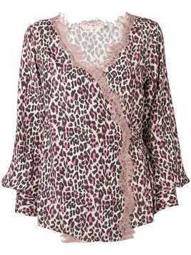 Gold Hawk leopard print lace trim wrap blouse - Neutrals