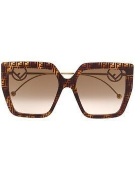 Fendi Eyewear logo print oversized frame sunglasses - Brown