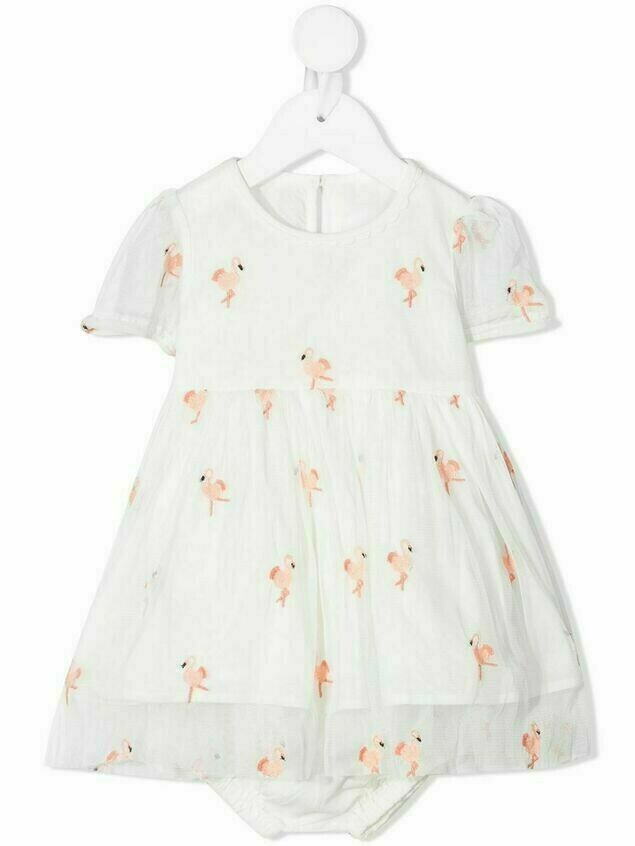 Stella McCartney Kids flamingo-embroidered dress - White