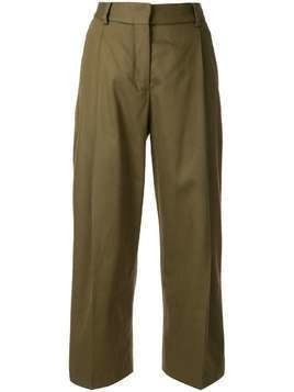 Margaret Howell cropped pleated trousers - Green