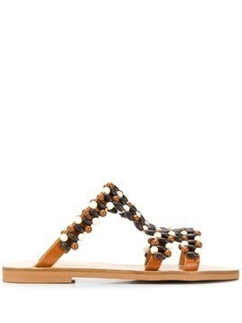 Elina Linardaki beaded sandals - Brown