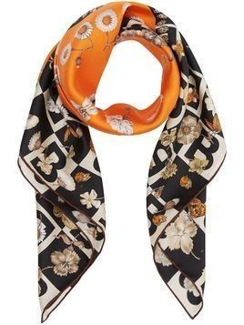 Burberry b motif and floral print square scarf - ORANGE