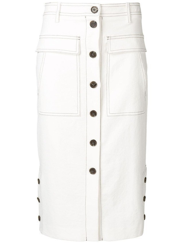 SJYP front button pencil skirt - White