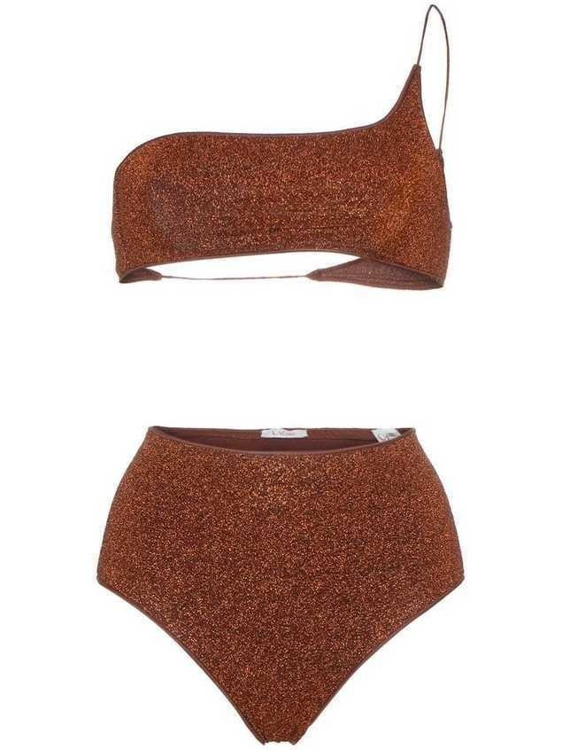 Oseree brown Lumiere one shoulder bikini - Orange