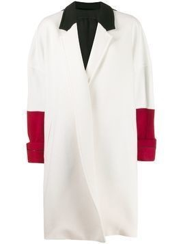 Haider Ackermann oversized colour block coat - White