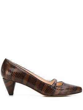 Lenora snakeskin-effect pumps - Brown