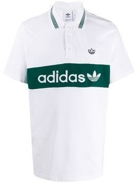 adidas logo stripe polo shirt - White