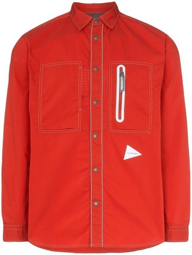 and Wander Laser long-sleeved zip pocket shirt - Red