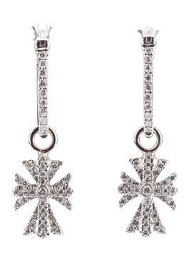 Elise Dray diamond cross earrings - Metallic