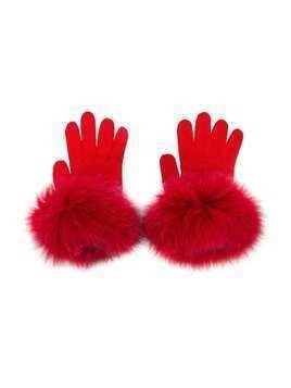 Catya Kids knitted contrast trim gloves - Red
