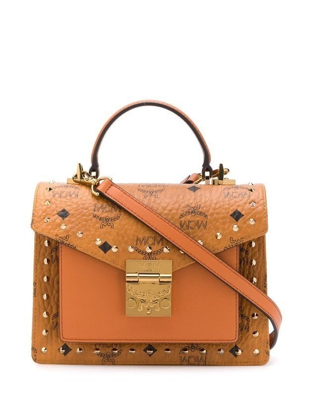 MCM Patricia small studded satchel - Brown