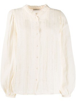 Mes Demoiselles embroidered collarless blouse - NEUTRALS
