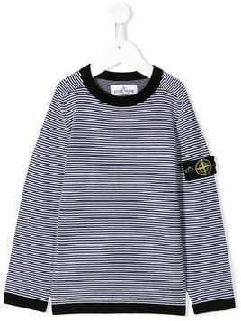 Stone Island Junior striped knitted jumper - Black