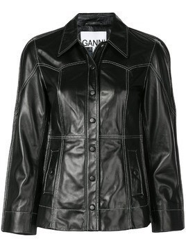 Ganni fitted leather jacket - Black