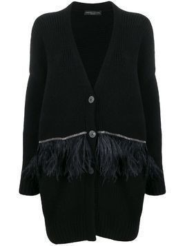 Fabiana Filippi feather-embellished cardi-coat - Black