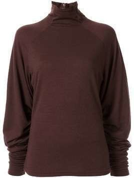 G.V.G.V. shirred sleeve knitted top - Brown
