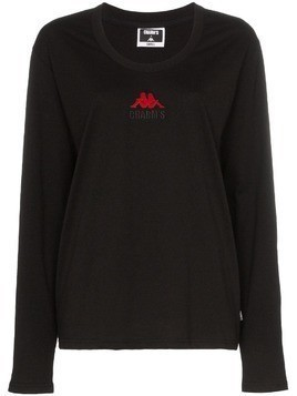 Charm's X Kappa flame motif long-sleeved cotton T-shirt - Black