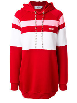 MSGM stripe panelled hoodie dress with gemstone embellished drawstring - Red