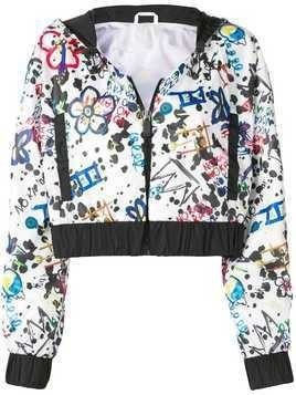 No Ka' Oi print cropped jacket - Black