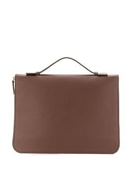 Eleventy top handle zipped briefcase - Brown