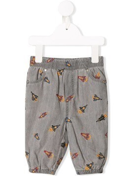 Stella McCartney Kids embroidered rocketship trousers - Grey