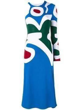 Esteban Cortazar asymmetric intarsia knit dress - Blue