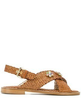 Emanuela Caruso embellished woven sandals - Brown