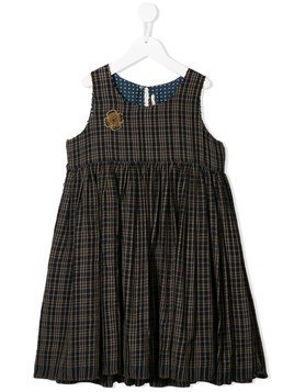 Pero Kids sleeveless checked print dress - Brown