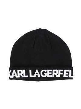 Karl Lagerfeld Kids logo knitted beanie - Black