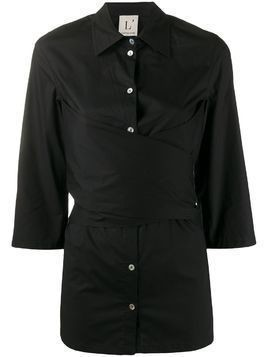 L'Autre Chose wrap front shirt - Black