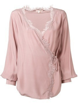 Gold Hawk lace trim wrap blouse - Pink