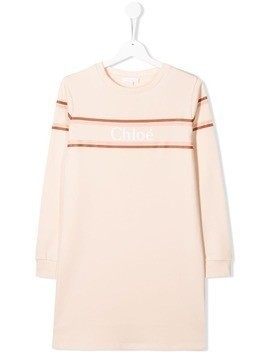 Chloé Kids TEEN logo print sweat shirt - Pink