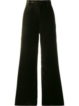 Closed wide-leg tailored trousers - Green