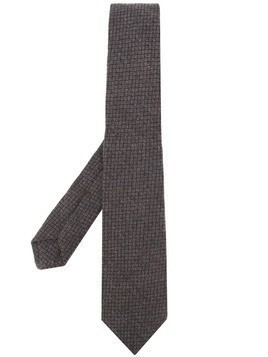 Kiton checked pattern tie - Brown