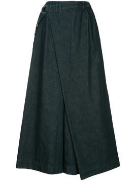 Astraet wrap-style light denim palazzo pants - Blue