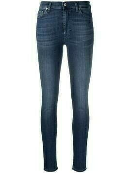 7 For All Mankind high-rise whiskered skinny jeans - Blue
