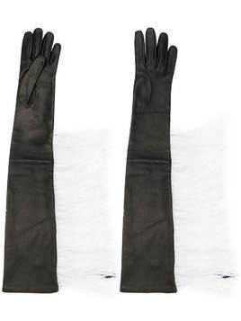 Attico long feather-embellished gloves - Black