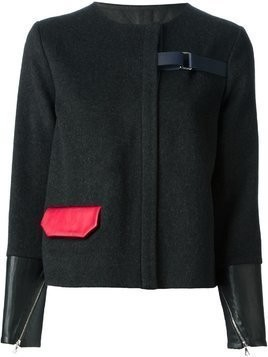 Jamie Wei Huang contrasting cuffs and pocket straight jacket - Black