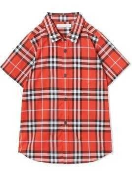 Burberry Kids Short-sleeve Check Cotton Shirt - Red