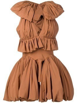 Maticevski ruffle trim dress - Brown
