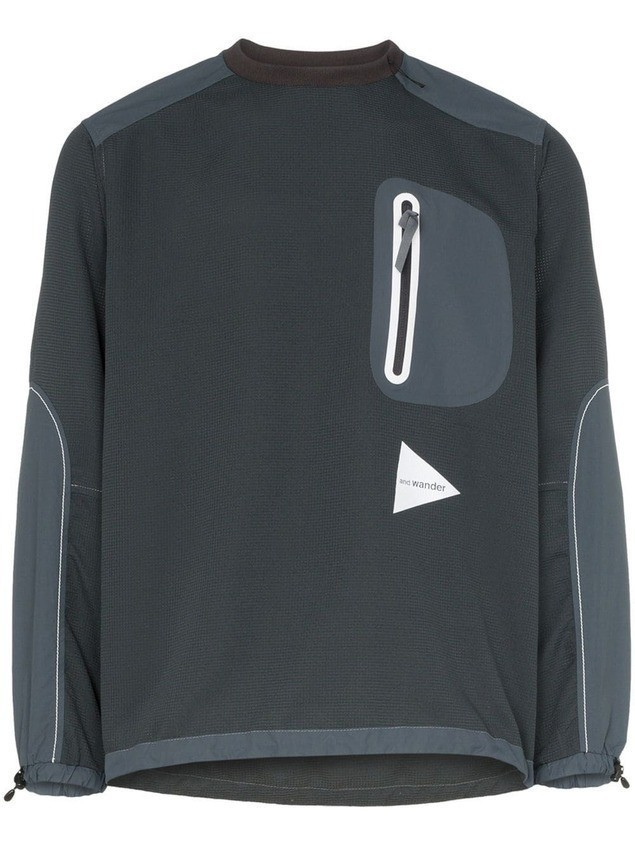 and Wander logo print windbreaker top - Grey