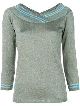 Charlott metallic v-neck pullover - Green
