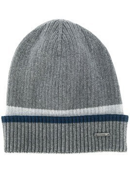 BOSS logo-plaque knit beanie - Grey
