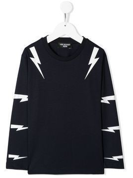 Neil Barrett Kids lightning print sweatshirt - Blue