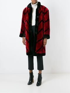 Christian Dior Vintage shearling 'Patterned' coat - Red
