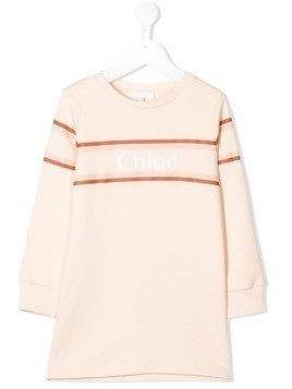 Chloé Kids logo print sweat dress - Pink