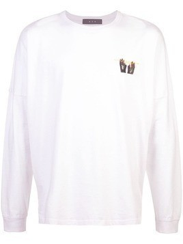 Geo 3 hand long sleeve tee - White